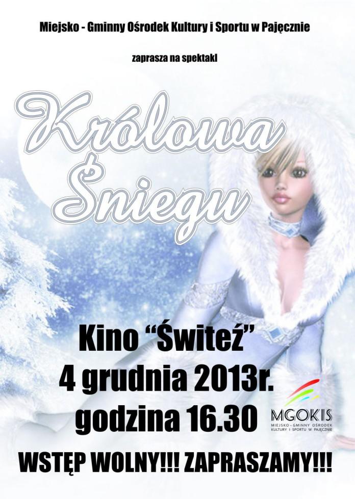 spektakl królowa śniegu pajęczno