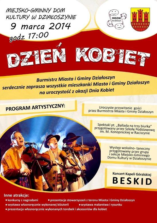 plakat zaproszenie dzien kobiet dzialoszyn