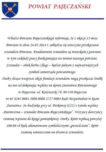 15 lecie powiatu pajeczno
