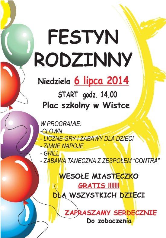 plakat wistka festyn rodzinny 2014