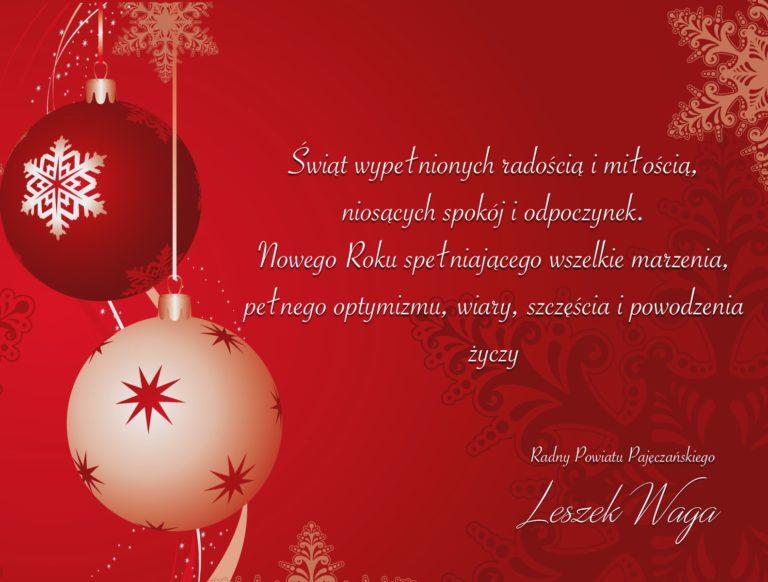 Leszek Waga Radny Powiatu Pajęczańskiego życzy Wesołych Świąt