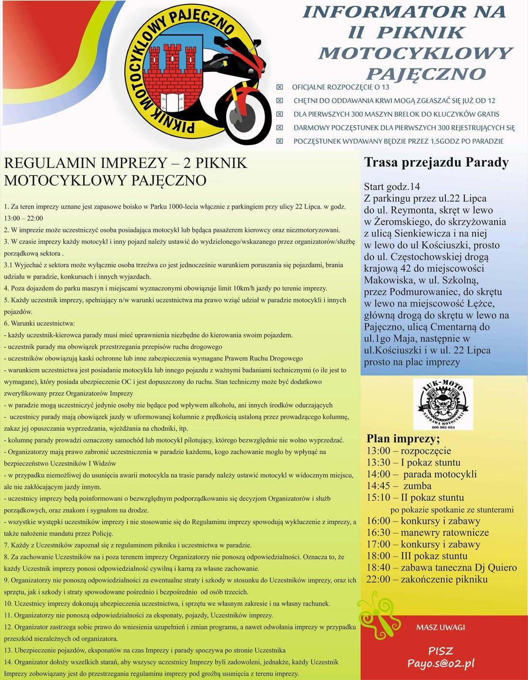 regulamin pikniku motocyklowe