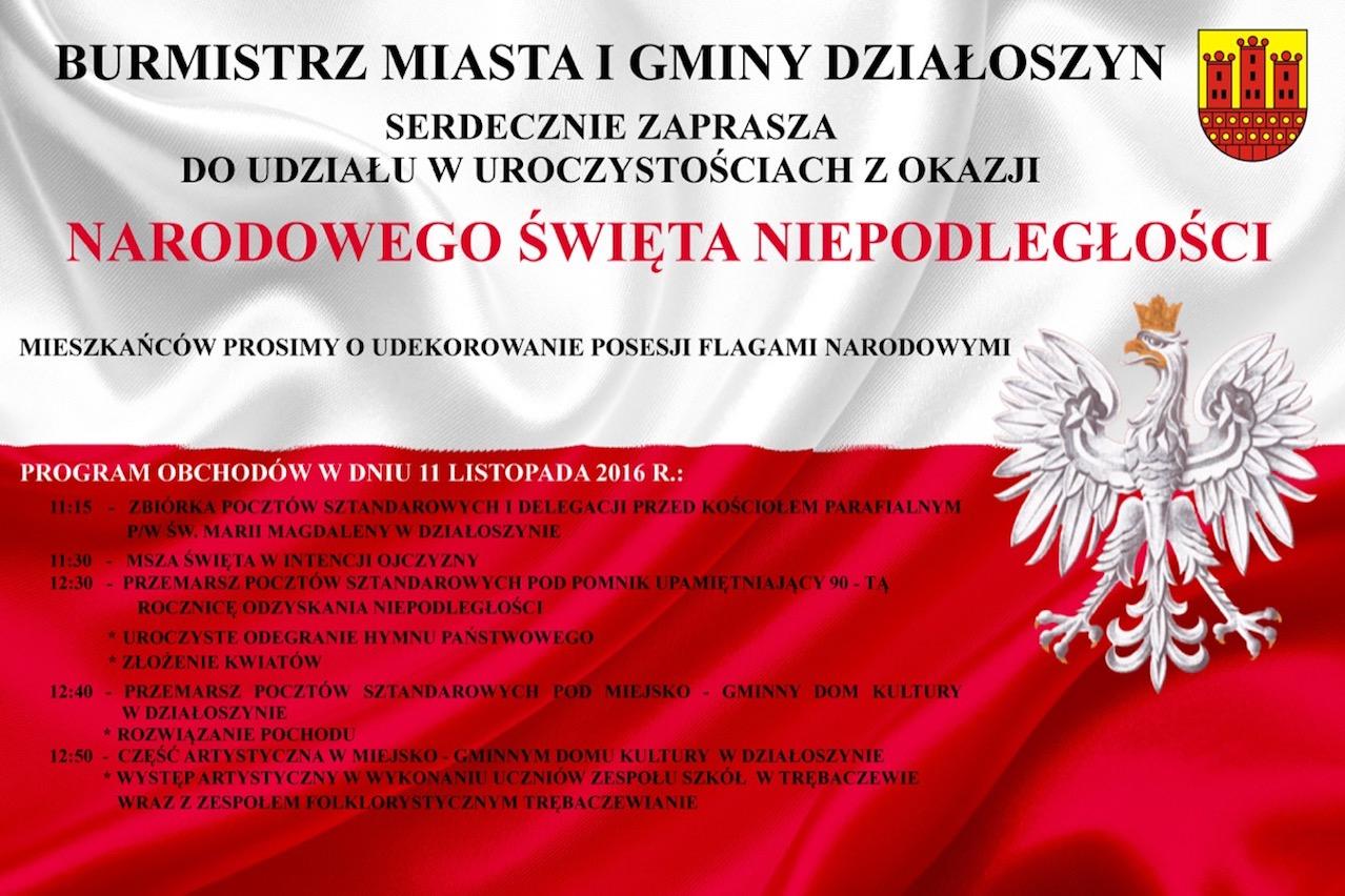 Program Obchodów święta Niepodległości W Pajęcznie I