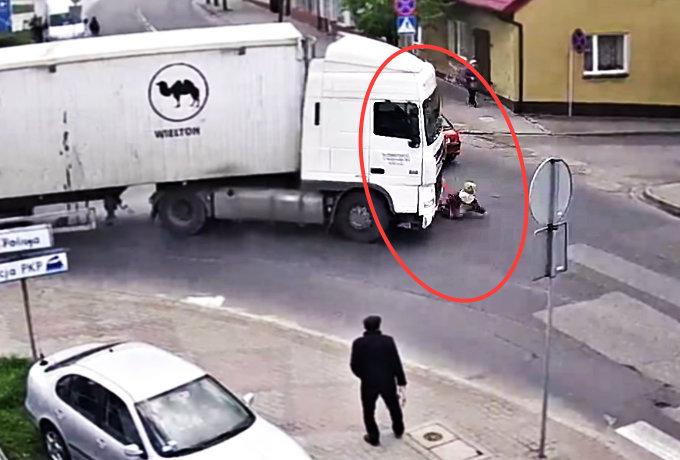 Kobieta potrącona przez cieżarówkę zbiegła z miejsca wypadku [WIDEO]