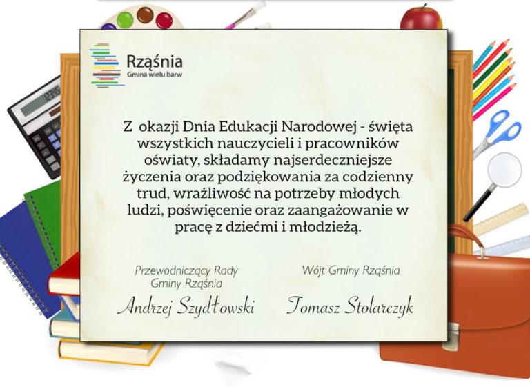 Życzenia z okazji Dnia Edukacji Narodowej od władz Gminy Rząśnia