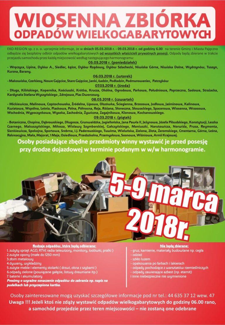 Zbiórka odpadów wielkogabarytowych w gminie Pajęczno