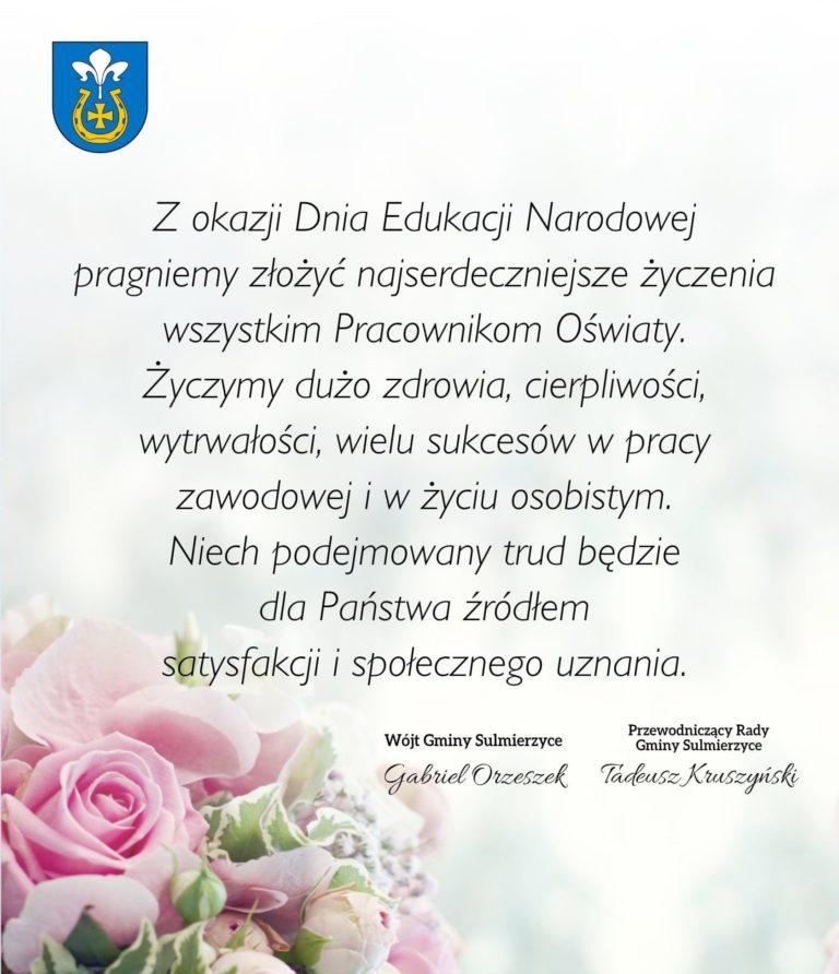 Życzenia z okazji Dnia Edukacji Narodowej od władz Gminy Sulmierzyc