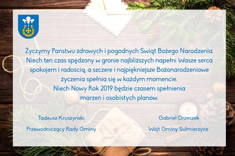 Życzenia od władz samorządowych Gminy Sulmierzyce