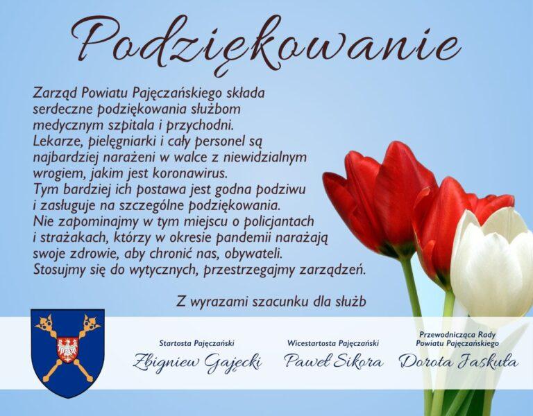 Podziękowanie od władz Powiatu Pajęczańskiego