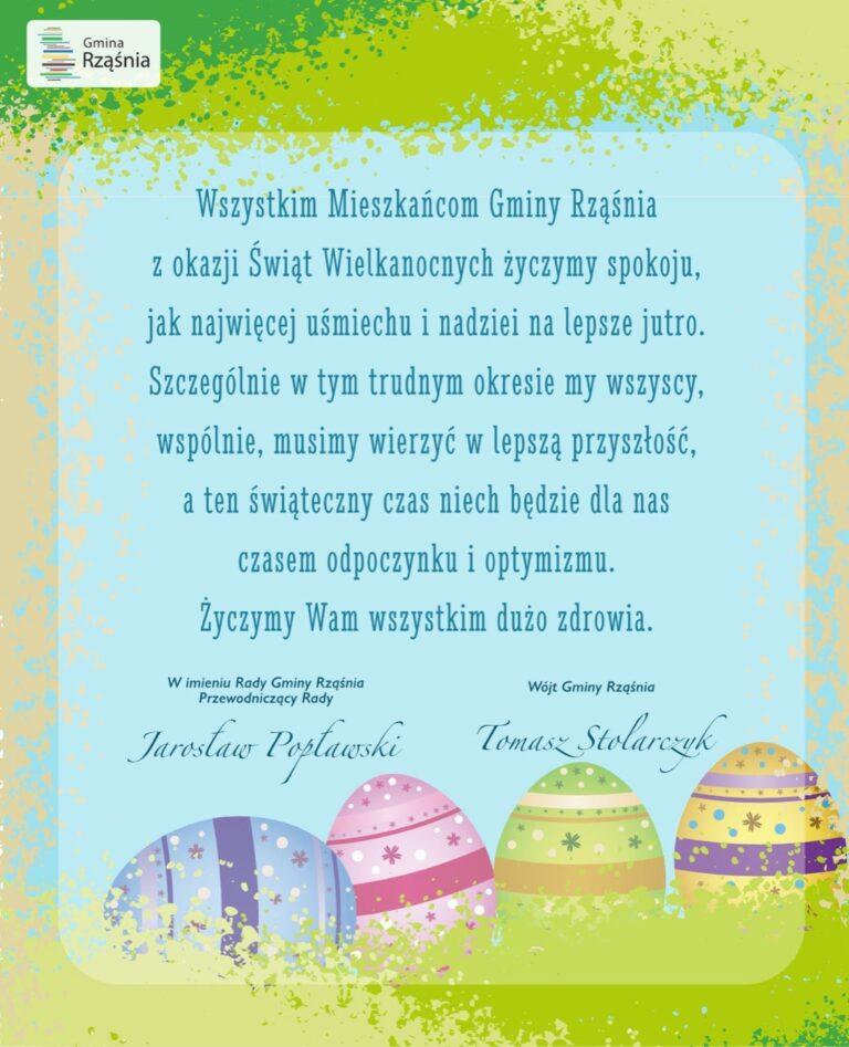 Życzenia Wielkanocne dla mieszkańców Gminy Rząśnia