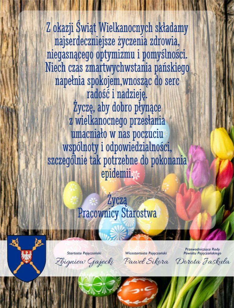 Życzenia Wielkanocne od władz Powiatu Pajęczańskiego