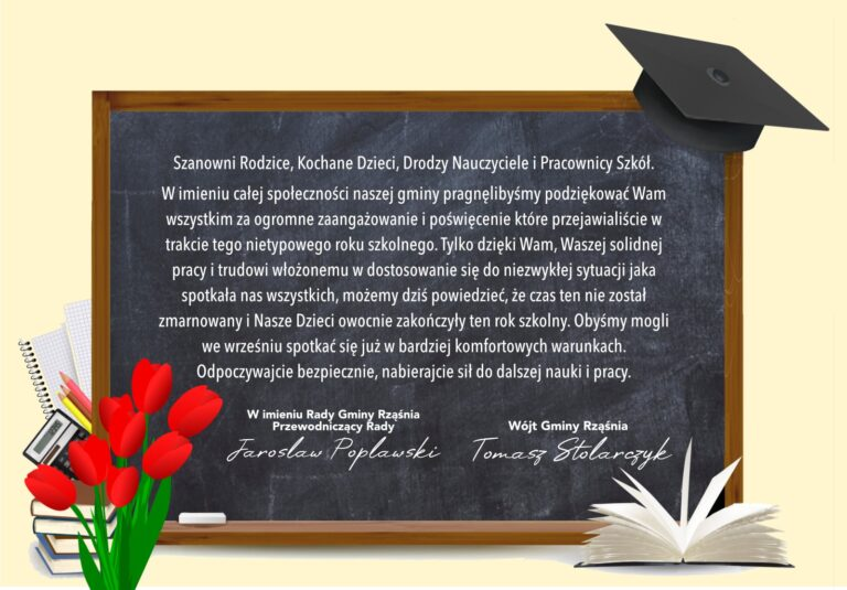 Podziękowanie z okazji zakończenia roku szkolnego od władz Gminy Rząśnia