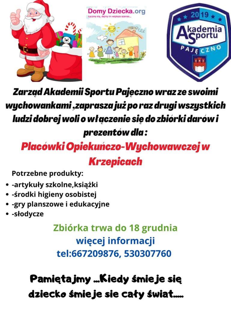 Charytatywna zbiórka z Akademią Sportu Pajęczno