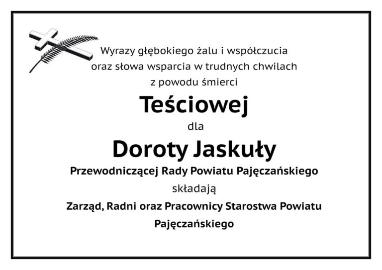 Kondolencje dla Przewodniczącej Rady Powiatu Pajęczańskiego