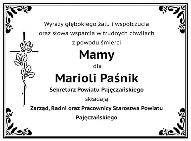 Kondolencje dla Sekretarz Powiatu Pajęczańskiego