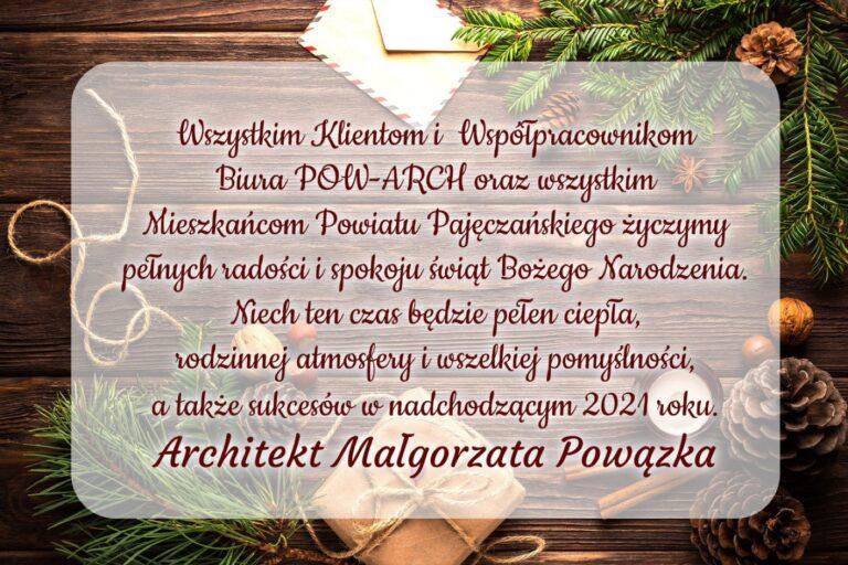 Życzenia świąteczne składa Architekt Małgorzata Powązka
