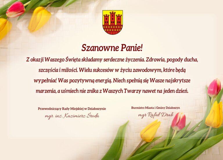 Życzenia z okazji Dnia Kobiet od władz Gminy Działoszyn