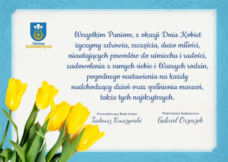 Życzenia z okazji Dnia Kobiet od władz Gminy Sulmierzyce
