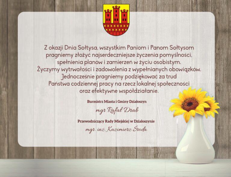 Życzenia z okazji Dnia Sołtysa od władz Gminy Działoszyn