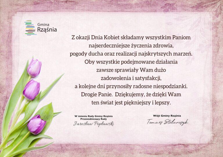 Życzenia z okazji Dnia Kobiet od władz Gminy Rząśnia