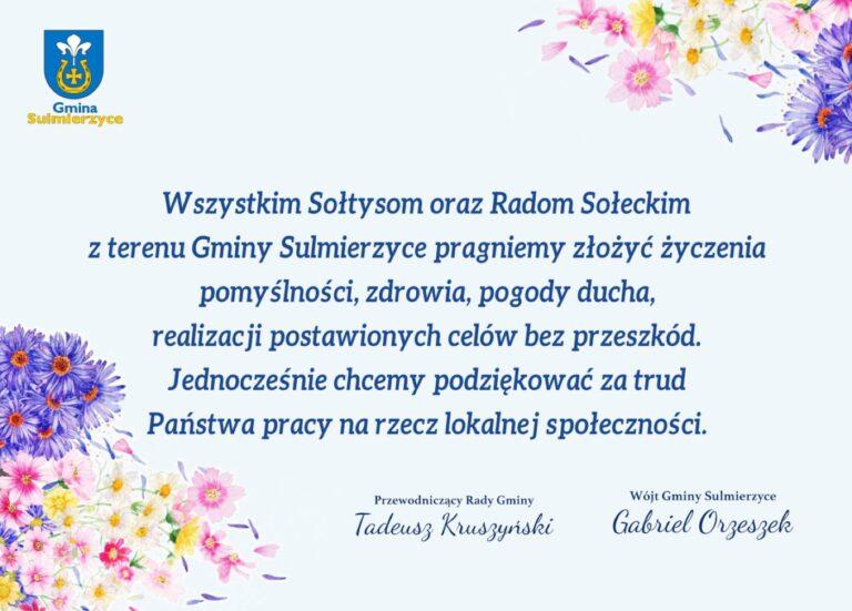 Życzenia z okazji Dnia Sołtysa od władz Gminy Sulmierzyce