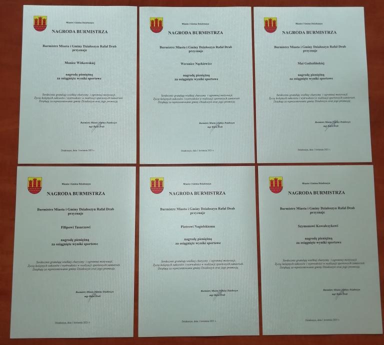 Burmistrz Działoszyna nagrodził młodych sportowców
