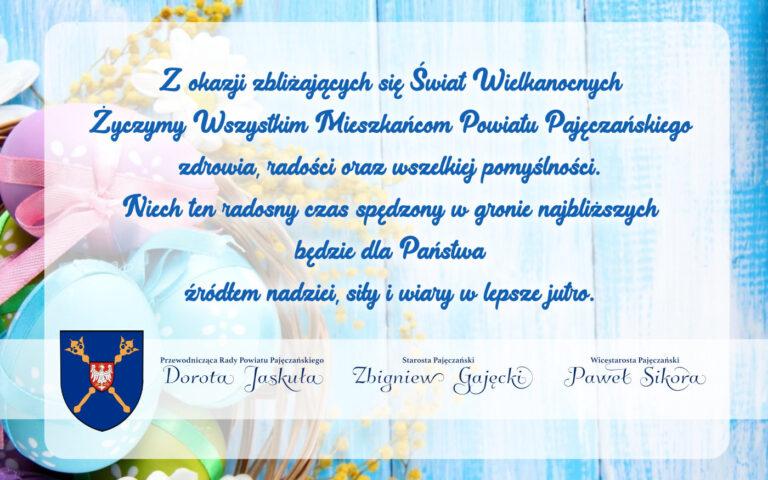 Życzenia Wielkanocne dla mieszkańców Powiatu Pajęczańskiego