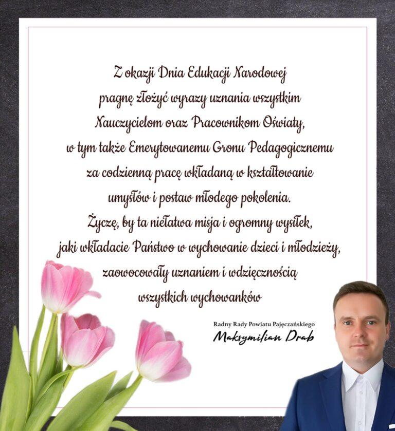 Życzenia z okazji Dnia Edukacji Narodowej składa radny Maksymilian Drab