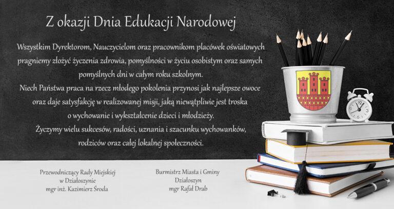 Gmina Działoszyn. Życzenia z okazji Dnia Edukacji Narodowej
